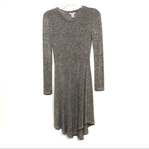Bar 3 knit long sleeve fit flare knit dress gray